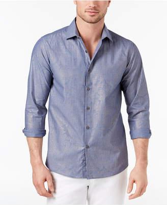 Tallia Men's Slim-Fit-Fit Chambray Metallic Paisley-Print Pinstripe Dress Shirt