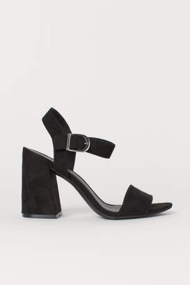 H&M Block-heeled Sandals - Black