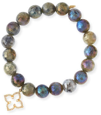 Sydney Evan Coated Labradorite Faceted Bead Bracelet with Diamond Moroccan Flower Charm