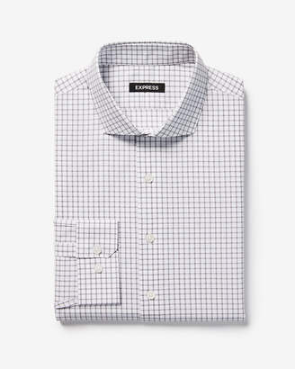 Express Slim Check Pattern Spread Collar Dress Shirt