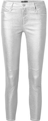 RtA Prince Metallic Mid-rise Stretch Skinny Jeans - Silver
