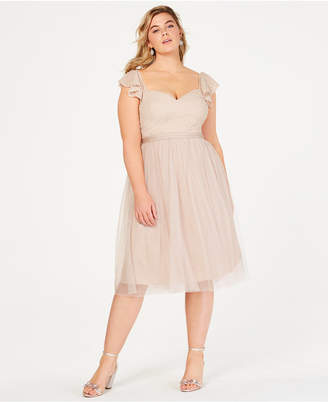 City Chic Trendy Plus Size Textured Fit & Flare Dress