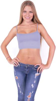 Hollywood Star Fashion Basic Mini Cami Without Cup Stretch Solid Spaghetti Straps Bandeau Top