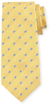 Kiton Diamond-Print Silk Tie, Yellow