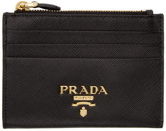 Prada Black Saffiano Top Zipped Multi Card Holder