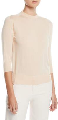 Loro Piana 3/4-Sleeve Silk-Cotton Crewneck Sweater