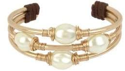 Robert Lee Morris Soho Exclusive Pearl Faux Pearl and Leather Wire Wrap Cuff Bracelet
