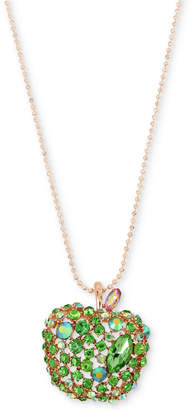 "Betsey Johnson Rose Gold-Tone Crystal Apple Pendant Necklace, 31"" + 3"" extender"