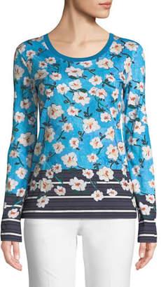 Escada Crewneck Long-Sleeve Floral-Print Cotton Tee