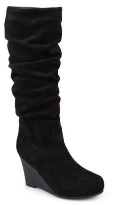 Brinley Co. Women's Wide Calf Slouchy Faux Suede Mid-calf Wedge Boots