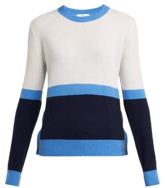 Allude Colour Block Cashmere Sweater - Womens - Blue Multi