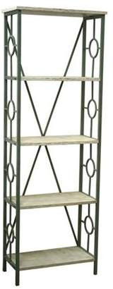 Crestview Collection Key Largo Seafoam Green Etagere with Antique White Wood Shelves