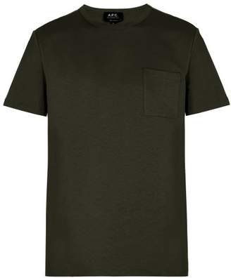 A.P.C. Crew Neck Cotton T Shirt - Mens - Green