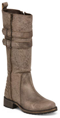Made In Brazil Distressed Tall Leather Boots