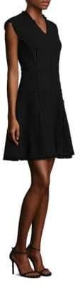 Rebecca Taylor Fringed V-Neck Fit-&-Flare Dress