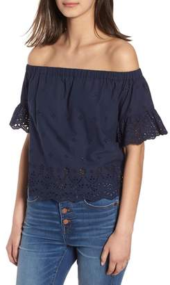 Madewell Off the Shoulder Eyelet Top