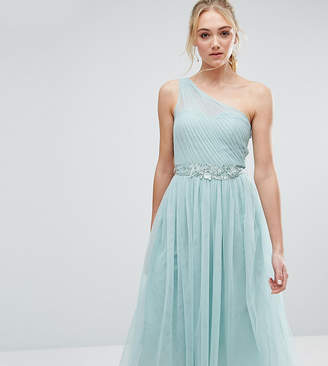 Little Mistress Tall Full Prom Tulle One Shoulder Midi Dress With Lace Applique