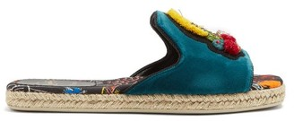 Christian Louboutin Pacha Embellished Espadrille Slides - Womens - Green Multi