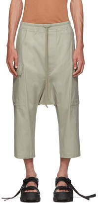Rick Owens Grey Drawstring Cropped Cargo Pants