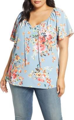 Estelle Reflections Floral Short Sleeve Top