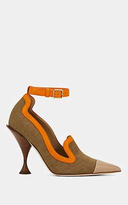Burberry Women's Canvas & Leather Ankle-Strap Pumps - Beige, Tan