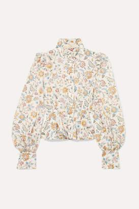 Anna Mason - Laila Floral-print Cotton-poplin Blouse - White