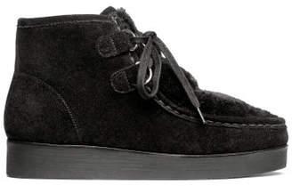 H&M Suede boots with faux fur - Black
