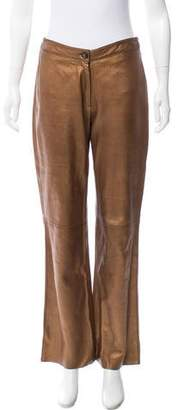 Rene Lezard Mid-rise Leather Pants
