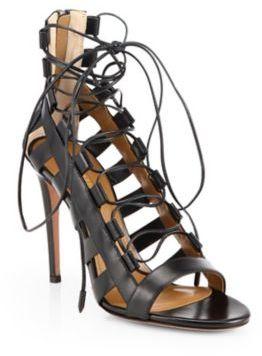 Aquazzura Amazon Leather Lace-Up Sandals $695 thestylecure.com