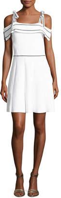 Parker Dorothy Knit Cold-Shoulder Dress, White