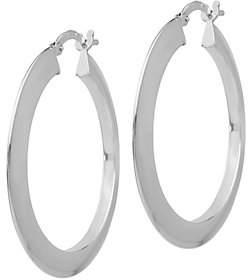 Italian Silver Knife-Edge Hoop Earrings, Sterli