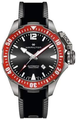 Hamilton Khaki Navy Frogman Automatic Silicone Strap Watch, 46mm