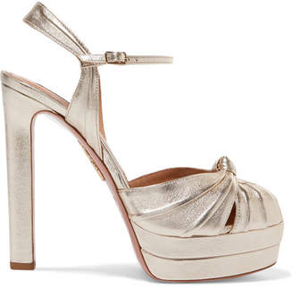 Aquazzura Evita 130 Metallic Leather Platform Sandals