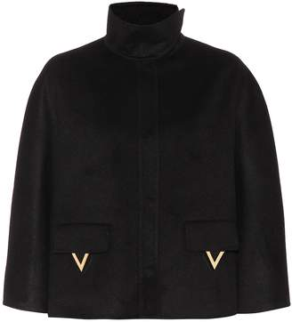 Valentino Angora wool-blend cape coat