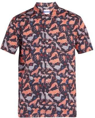 Le Sirenuse Le Sirenuse, Positano - Animal Print Cotton Shirt - Mens - Dark Blue