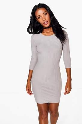 boohoo Sheeva Ribbed 3/4 Sleeved Bodycon Dress