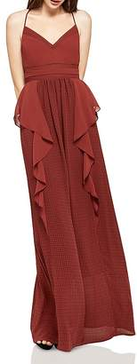 BCBGeneration Ruffled Check Maxi Dress