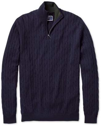 Charles Tyrwhitt Navy Zip Neck Lambswool Cable Knit Jumper Size Large