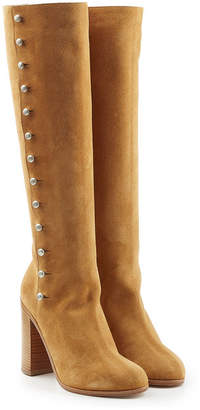 Maison Margiela Suede Knee Boots with Buttons