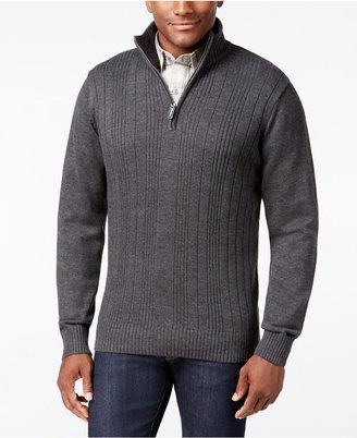 Tricot St. Raphael Men's Faux Fur Trim Rib-Knit Sweater $75 thestylecure.com