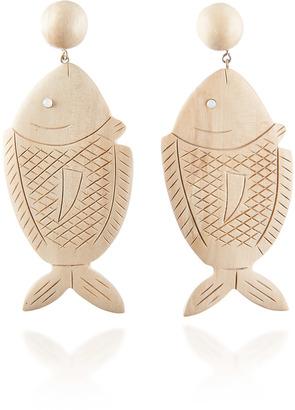 Rebecca de Ravenel Caspia White Wood Earrings