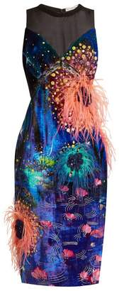 Mary Katrantzou Affair embellished dandelion-print velvet dress