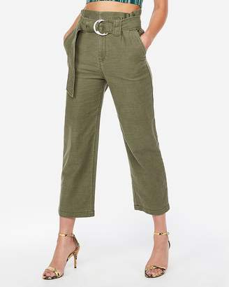 Express Super High Waisted Tie Waist Cropped Wide Leg Pant