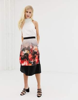 Closet London Closet pleated skirt with border print