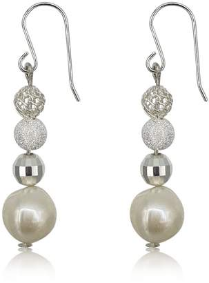 Eliza J Bautista Pearl & Silver Dangling Earrings