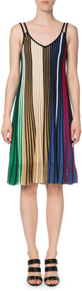 Kenzo Vertical-Stripe Sleeveless Mesh V-Neck Dress