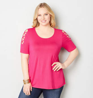 Avenue Caged Sleeve Top