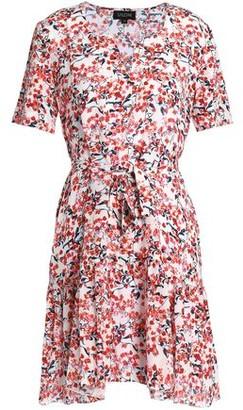 Saloni Belted Printed Silk Crepe De Chine Mini Dress