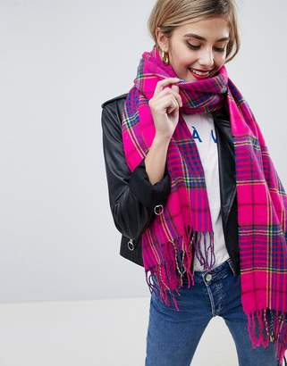Asos DESIGN check scarf with tassels in hot pink