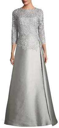 Rickie Freeman For Teri Jon Floral-Lace 3/4-Sleeve Gown